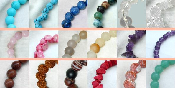 образцы браслетов из натуральных и полудрагоценных камней.